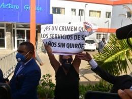 Protesta frente al presidente